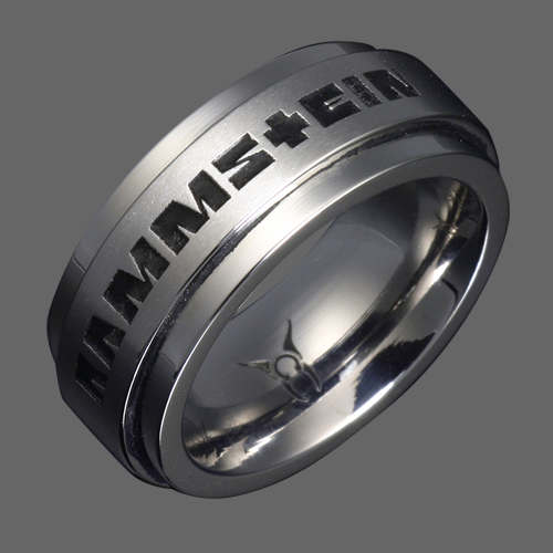 Stainless Steel Rammstein Ring With Black Engraved